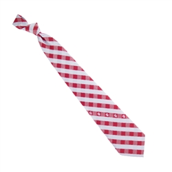 Indiana University Crimson and Silver Woven Polyester Check Neck Tie