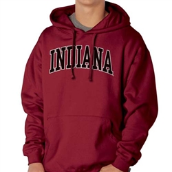 """Peerless"" Arched INDIANA Crimson Team Color Sueded Hooded Sweatshirt from Ouray"