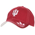 "ADIDAS Adjustable Trefoil ""IU"" Indiana Crimson Cap with White Running Stitch"