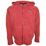 Full Zip Vintage Washed IU Indiana Hoosiers Crimson Hooded Sweatshirt