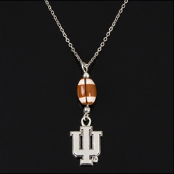 Indiana Hoosiers IU Football Necklace with Football Shaped Bead