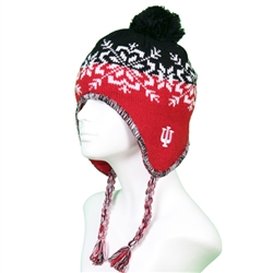 "ADIDAS INDIANA ""IU"" Knit Winter Flap Hat with Tassle"