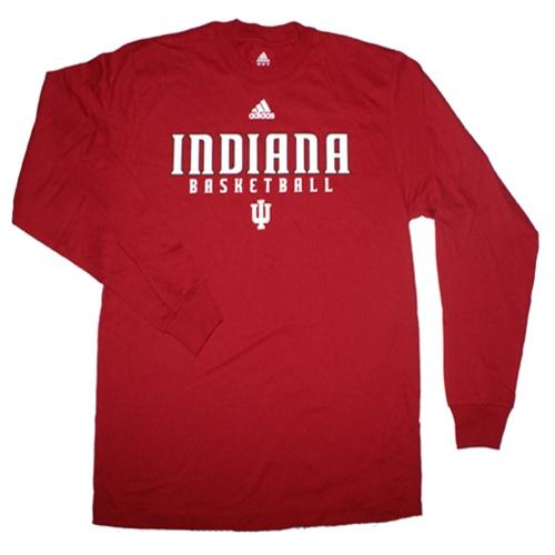 Longsleeve adidas crimson indiana basketball sideline t shirt for Indiana basketball t shirt