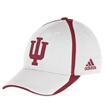 ADIDAS IU INDIANA HOOSIERS White Player Flex Sideline Cap Hat