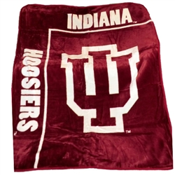 Indiana Hoosier IU Royal Plush Raschel Throw Blanket