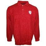 Crimson Red Reverse Fleece Longsleeve Indiana Polo Sweatshirt