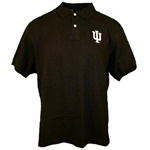 "Black Indiana Hoosiers ""IU"" Interlock Pique Golf Shirt"