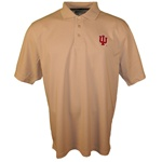 "Tan Indiana Hoosiers ""IU"" Pique Pima Blend Golf Shirt"