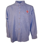 "Light Blue Indiana ""IU"" Button Down Men's Denim Shirt"