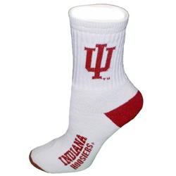 Indiana Hoosiers White and Crimson Quarter Socks