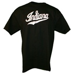 "Distressed Black Indiana ""Script"" Logo T-Shirt"
