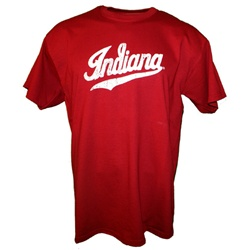 "Distressed Crimson Indiana ""Script"" Logo T-Shirt"