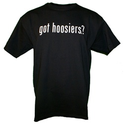 "Indiana ""got hoosiers?"" Black T-Shirt"