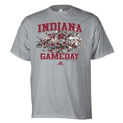 "ADIDAS Indiana Hoosiers ""Gameday"" Grey Fan T-Shirt"