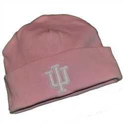 "Infant ""IU"" Pink Cuffed Cotton Beanie from Top of the World"