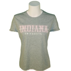 "Women's Grey ""Pink Crackle"" Indiana University Tee with Pink Insert"