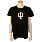 "Black Ladies Short Sleeved Indiana ""IU"" T-Shirt"