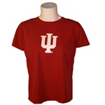 "Garment Washed Crimson Ladies Short Sleeved Indiana ""IU"" T-Shirt"