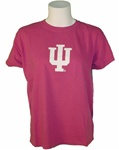 "Garment Washed Raspberry Pink Ladies Short Sleeved Indiana ""IU"" T-Shirt"