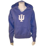 "Light Blue Ladies V-Notch Garment Washed Hooded INDIANA ""IU Sweatshirt"