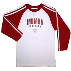 ADIDAS Youth 3-Stripe White Raglan Indiana Longsleeve T-Shirt