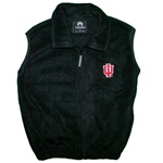 "Youth Black Polar Fleece Full Zipper Vest with INDIANA ""IU"" Logo"