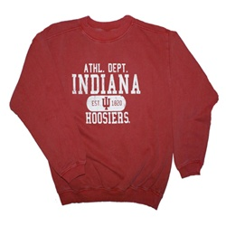 Youth Garment Washed Crimson INDIANA ATHLETICS Crew Neck Sweatshirt