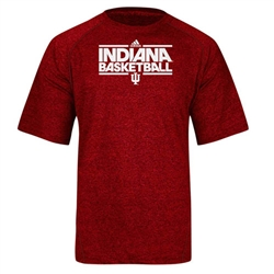 ADIDAS Red Heather INDIANA BASKETBALL Climalite Short Sleeved T-Shirt