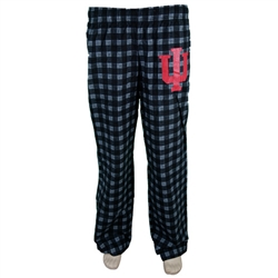 ADIDAS Black Plaid Flannel INDIANA Hoosier Pajama Pants