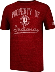 "ADIDAS Heathered Crimson INDIANA ""IU Old Timer Basketball"" Short Sleeved T-Shirt"