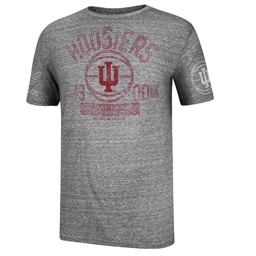 Adidas grey indiana hoosiers basketball short sleeved t shirt for Indiana basketball t shirt