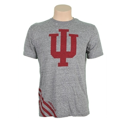 "ADIDAS Grey INDIANA ""IU Big Stripes"" Short Sleeved T-Shirt"