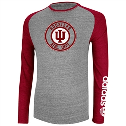 ADIDAS ATHLETIC DEPT Grey and Crimson Raglan Long Sleeve Shirt