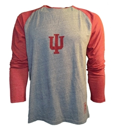 ADIDAS IU LOGO Grey and Crimson Raglan Long Sleeve Shirt