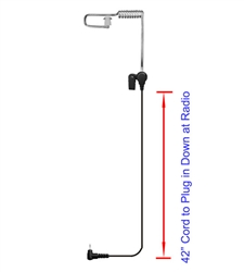 Tracker Listen Only Coiled Tube Earpiece - 2.5mm RA Connector, 42""