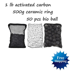 1 lb Aquarium Carbon + 50pcs Bio Ball + 500g Ceramic Rings