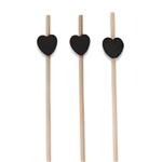 Premium Decorative Black Bamboo Heart Picks Skewers, Party Supplies