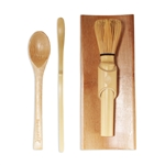 Skinny Golden Chasen (Tea Whisk) + Tray + Chashaku (Hooked Bamboo Scoop) for preparing Matcha Tea Spoon