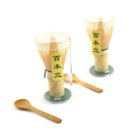 Bamboo Tea Whisk and Scoop for Preparing Macha (Green Tea Chasen)