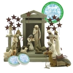 Willow Tree 19 Piece Nativity Set By Susan Lordi (2 Metal Star Backdrops)
