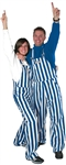 Blue & White Adult Striped Game Bib Overalls