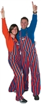 Royal Blue & Orange Adult Striped Game Bib Overalls