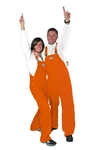 adult solid orange game bib overalls