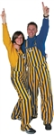 adult navy blue and yellow game bib overalls