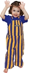 Purple & Yellow Striped Toddler Game Bib Overalls
