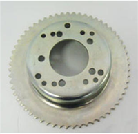 BRAKE DRUM, 4-1/2″ & #35 60 TOOTH SPROCKET, MACHINED ID, ZINC PLATED