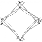 Xclaim [1X1 Quad] Pyramid Double Twist Diamond Fabric Popup Display [Graphic Only]