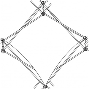Xclaim [1X1 Quad] Pyramid Single Twist Diamond Fabric Popup Display [Graphic Only]