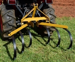The 110 single row cultivator V2.0, features adjustment holes on each tine, and has available, an optional garden bedder, and furrowing attachment