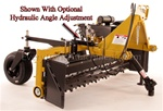 "Harley Rake, Tractor PTO Power Box Rake T-6 series, 72"" working width Free Shipping from Everything Attachments, Harley Rakes by Glenmac, Made in USA, adjustable barrier determines the size of material that passes, angle 15 degrees, Landscape Rake online"